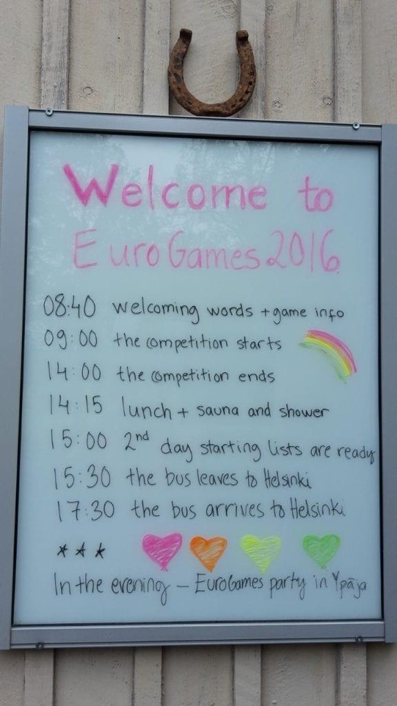 EuroGames schedule